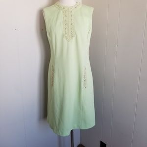 Early 1960s Unlabeled Mint Green, lined, Poly Dres